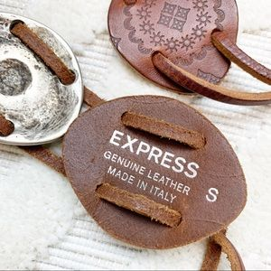 Express Accessories - Express Leather and Metal Strap Conchology Belt